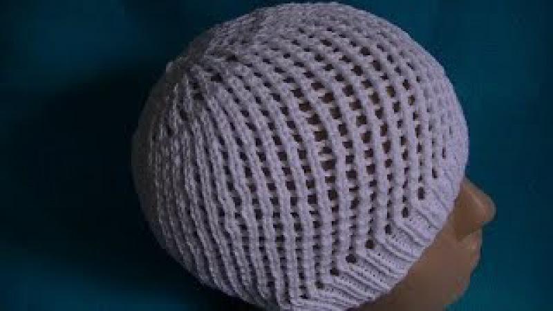 Вязание ажурной шапочки на круговых спицах.Knitting lace cap on circular needles.