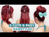 5 Quick &amp Easy Hairstyles for Medium Long Hair l Cute Everyday Hairstyles for School &amp Work