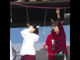 161214.I cant with this, he's so adorable. Suga couldnt reach so jin helped him😁😂😂 #yoonjin #suga #jin #BTS