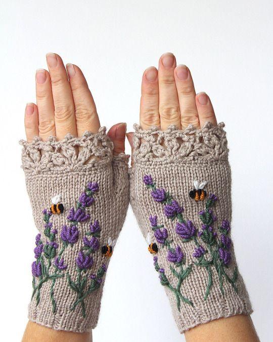 织绣结合的半指手套 - maomao - 我随心动