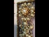 Икона  св. Лидии из полудрагоценных камней ( жемчуг, желтый агат, хрусталь) отправляется в багетную мастерскую