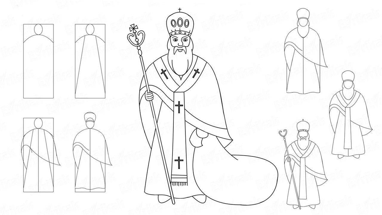 Схема як намалювати Миколая