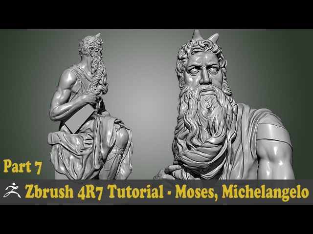Zbrush 4R7 Tutorial - SCULPTURE STUDY - MOSES, MICHELANGELO BUONARROTI Part 7