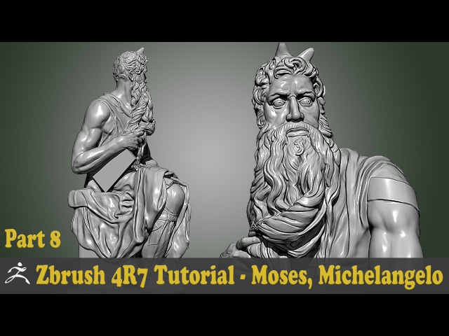 Zbrush 4R7 Tutorial - SCULPTURE STUDY - MOSES, MICHELANGELO BUONARROTI Part 8