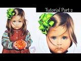 Colored Pencil tutorial Part 2 - hair and ribbon - Child portrait.