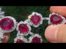 Estate Natural Red Ruby Diamond 18k White Gold Tennis Cocktail Necklace GEMS - A141674