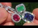 GIA Certified 20 64 ct Tanzanite Emerald Ruby Diamond 18k Gold Vintage Estate Earrings GEM A141548