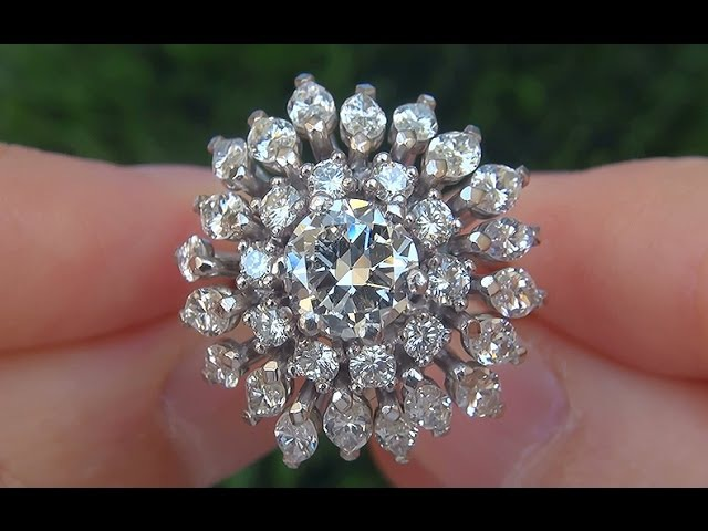 Estate Near Flawless VS1/G Natural Untreated Diamond Engagement Wedding PLATINUM Ring - C344