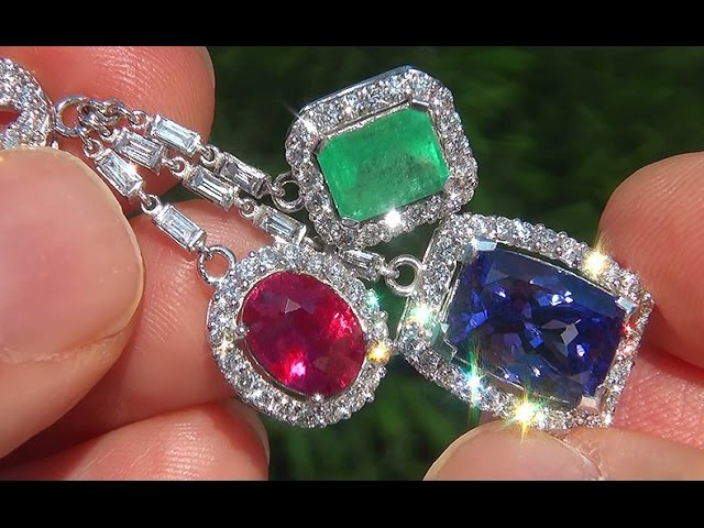 GIA Certified 20.64 ct Tanzanite Emerald Ruby Diamond 18k Gold Vintage Estate Earrings GEM - A141548
