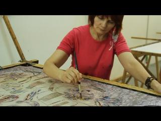 Роспись по солевому фону красками МИР ШЕЛКА.