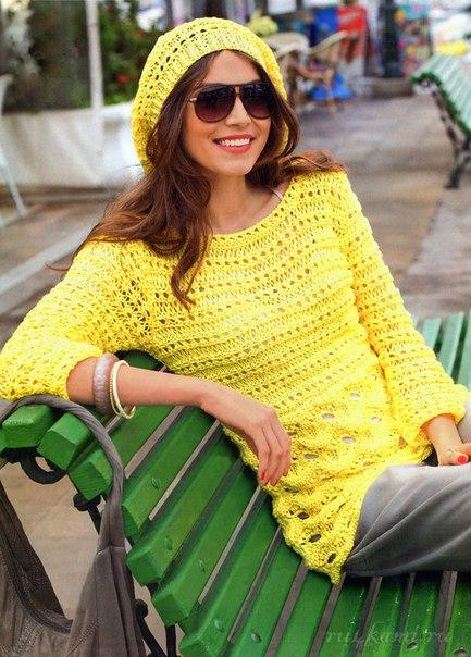 Солнечный комплект пуловер и шапочка вязаные спицами, описание и схема по ссылке...