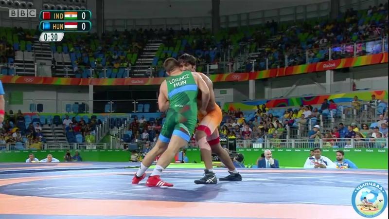 РИО-2016 греко-римская борьба 85 кг 1_8 финала Равиндер Хатри (Индия) - Виктор Лёринц (Венгрия)
