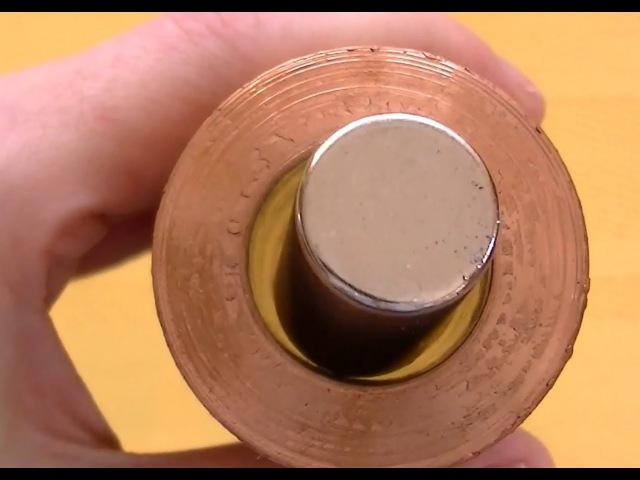 Copper pipe and neodymium magnet