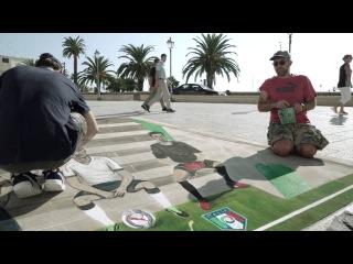 Presentato il nuovo AWAY KIT dell'#Italia con un'opera di #3D #StreetArt