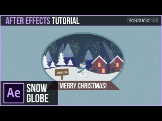 After Effects Tutorial: 2D SNOW GLOBE - Christmas Motion Graphics