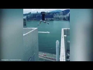 British daredevil leap between 25 story skyscrapers in  from Hong Kong