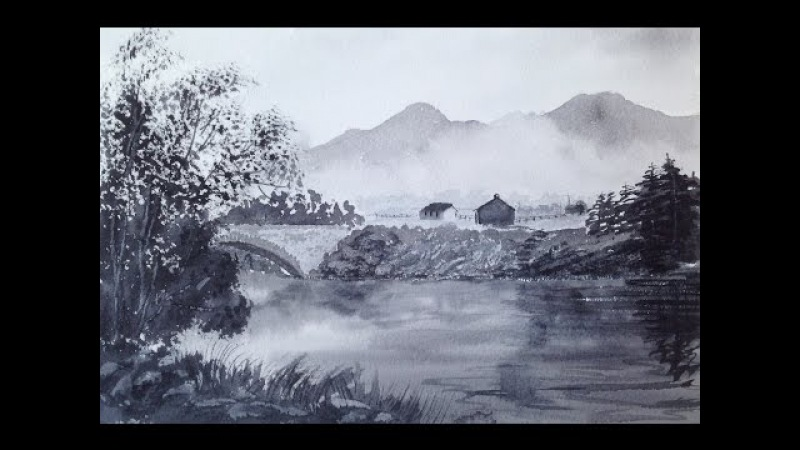 Гризайль3- Туман в горах, мост, река и другое. Grisaille3-.Lake District- bridge, mist on mountains,