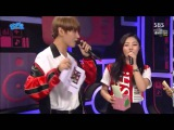BTS's V and JHope with MAMAMOO's Moonbyul and Wheein as Special MCs for today's Inkigayo