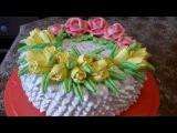 Торт с цветами Рецепт БИСКВИТНЫЙ ТОРТ СУФЛЕ Украшаем торт белково заварным кре ...