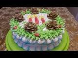 Рецепт НОВОГОДНЕГО торта Украшаем торт белково заварным кремом Cake decoration