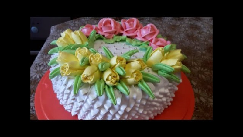 Торт с цветами Рецепт БИСКВИТНЫЙ ТОРТ СУФЛЕ Украшаем торт белково заварным кремом Cake decoration