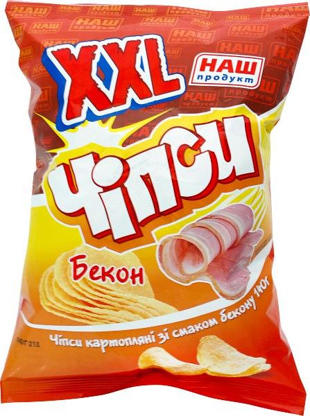 Чіпси картопляні ХХL бекон, Наш Продукт, 140 г