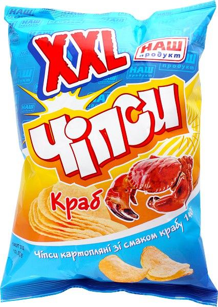 Чіпси картопляні ХХL краб, Наш Продукт, 140 г