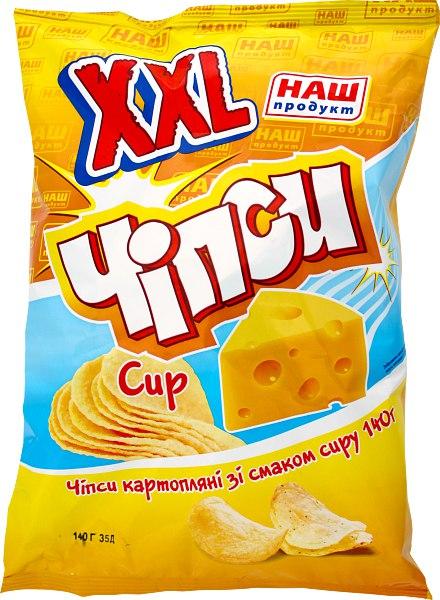 Чіпси картопляні ХХL сир, Наш Продукт, 140 г