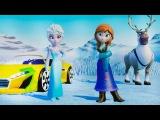 Мультик игра Принцесса Эльза и Анна мультфильм Холодное Сердце  и ТАЧКИ ДИСНЕЙ машинки для детей