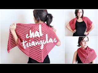 chal triangular FACIL a crochet (ENGLISH SUB!) tutorial chal tejido en punto red (malla, encaje)