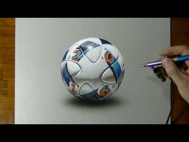 Drawing Uefa Euro 2016 Match Ball - How to draw 3D Art