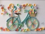 Quilling Bicycle  flowers  filigrana paper