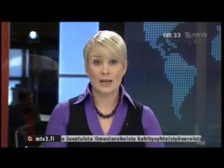 Kirsi Alm putoaa tuolilta kesken uutislähetyksen