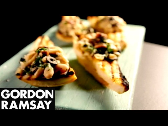 Cannellini Bean Crostini With Anchovy Olive - Gordon Ramsay
