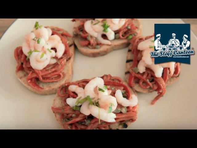 Chef Russell Brown creates Wild Atlantic prawns and piquillo pepper crostini