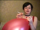 smoking blow to pop red balloon