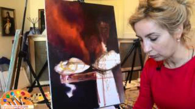 Часть 2. Основы написания натюрморта. Нанесение на холст заднего фона. Ольга Базанова