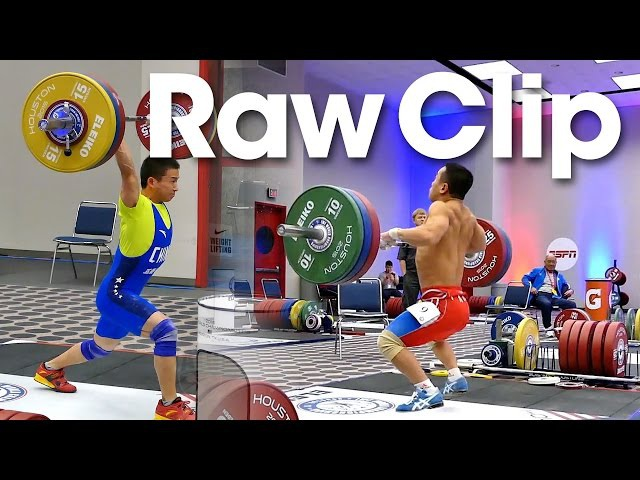 Raw Clip Om Yun Chol Wu Jingbiao Clean Jerk Warm Up Area 2015 World Weightlifting Championships