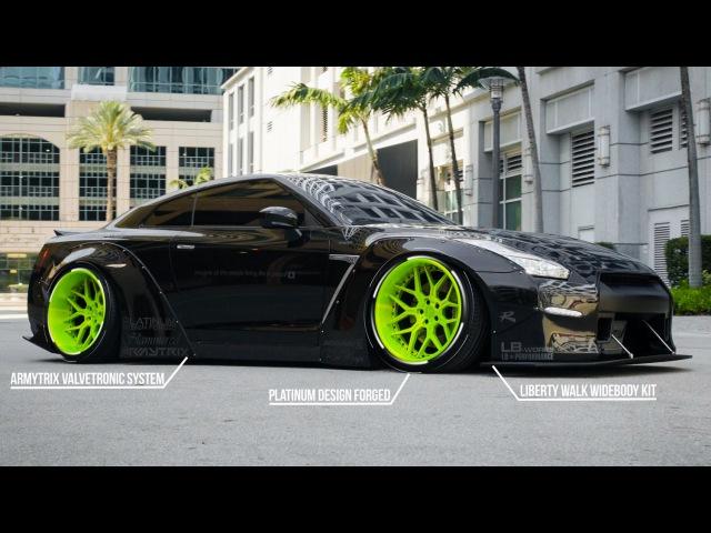 Liberty Walk Bagged Nissan GTR Black Edition! (4K) | XN WORKS