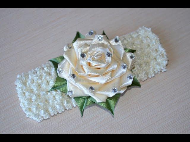 Роза из лент своими руками МК канзаши повязка на голову DIY rose flower Headband kanzashi 髪のヘ ...