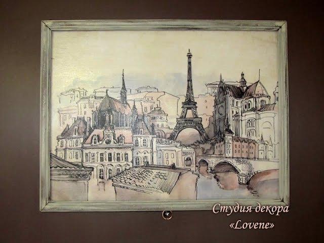Видео мастер-класс - Декор двери Мечты о Париже меловой краской DailyArt_ Часть2