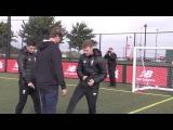 Watch Liverpool boss Jurgen Klopp take penalty blindfolded - and put it away in style