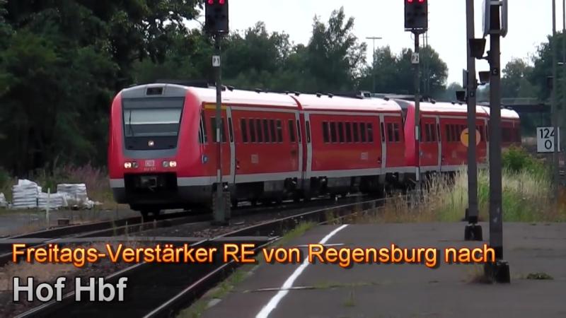 Marktredwitz mit OPB-Ersatzzuge (trilex, vlexx) Werbezug, alex Mitfahrt, agilis, VT 612 Zusatz