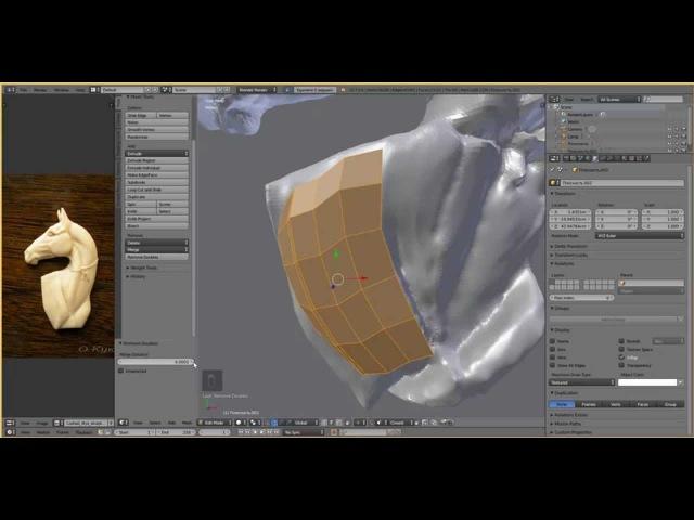 021 Создание барельефа в Blender - ретопология (2 часть)