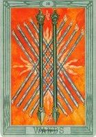 Значение и толкование карты 10 десятка жезлов таро Тота