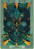 толкование и значение карты 5 дисков пятерка пентаклей таро Тота