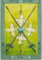 Значение и описание карты 2 двойка мечей таро Тота
