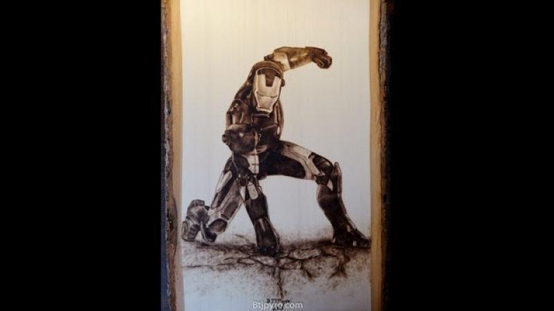 Iron Man - wood burning - fast-motion progression (24x speed)