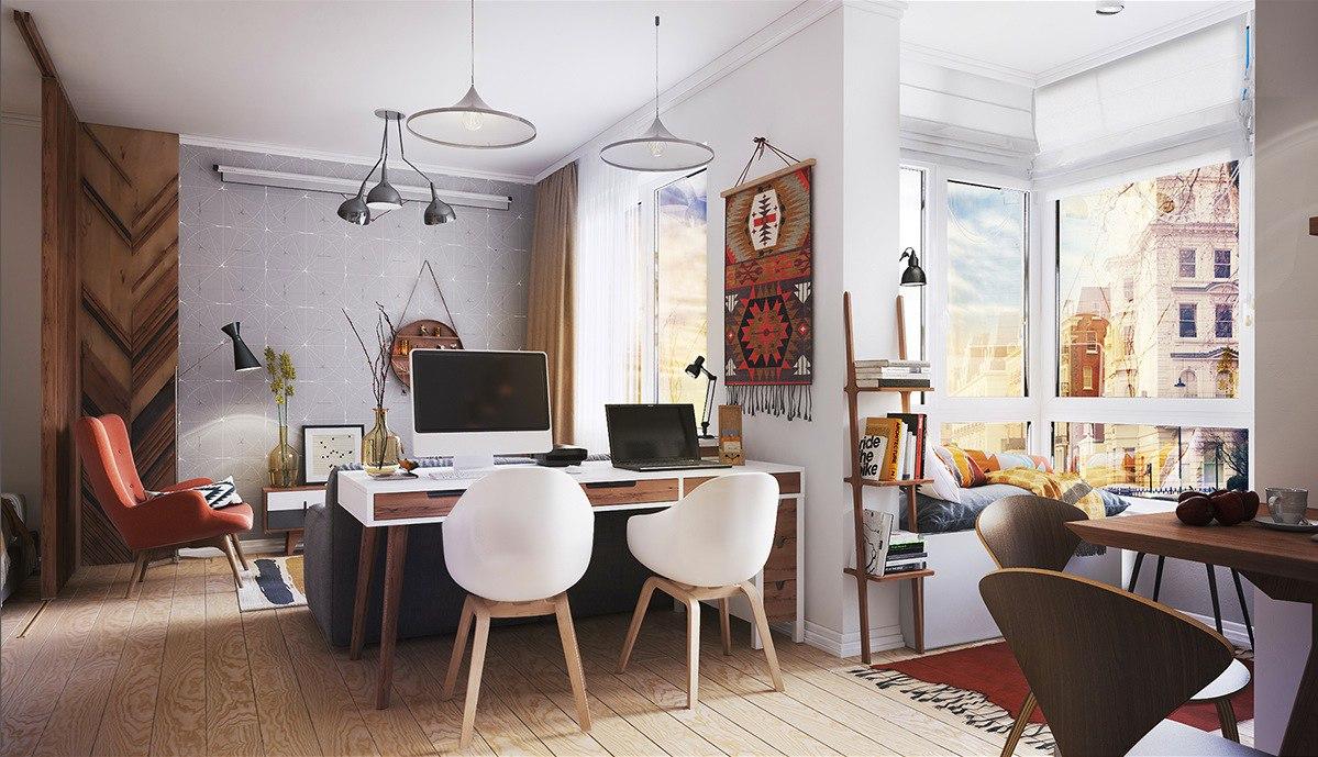 Проект квартиры-студии 44 м.