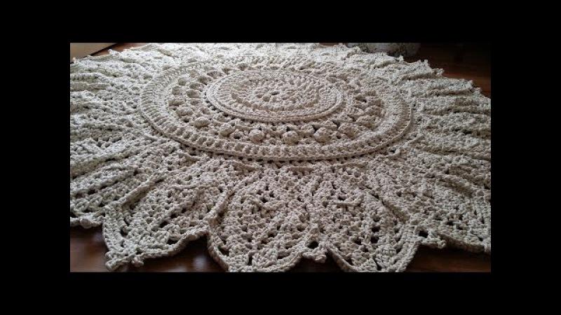 Часть 5 ВЯЗАНЫЙ КОВЕР 28 32 ряд МК мастер класс crochet rug смотреть онлайн без регистрации